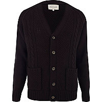 Black cable knit V neck cardigan
