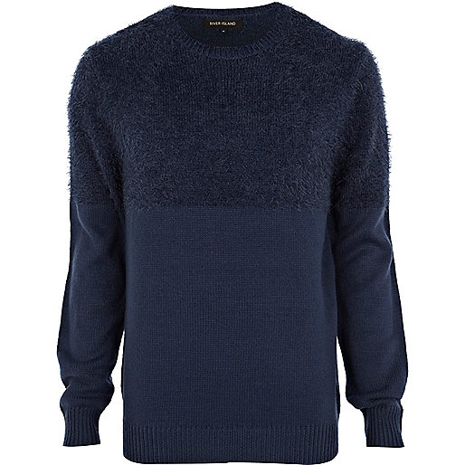 Navy fluffy yoke jumper