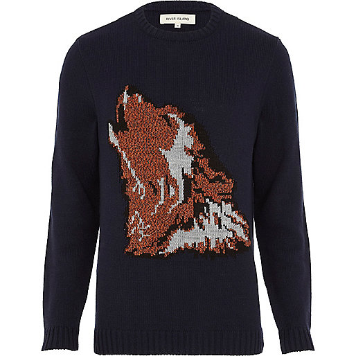 Navy wolf head jumper
