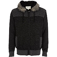 Black borg lined colour block knitted hoodie