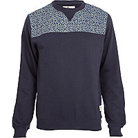 Navy Bellfield floral panel sweatshirt