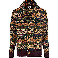 Dark red Bellfield fair isle cardigan