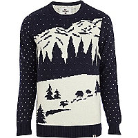 Navy Bellfield snow landscape knitted jumper