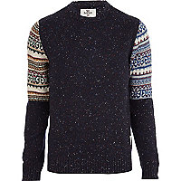 Navy Bellfield fairisle sleeve jumper