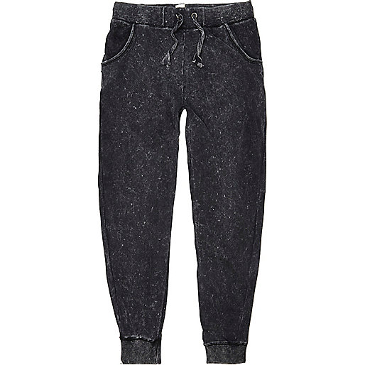 Black acid wash Bellfield joggers