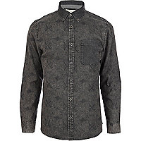 Black graphic print denim shirt