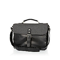 Grey contrast panel satchel