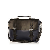 Black colour block satchel