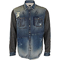 Blue Holloway Road patched denim shirt