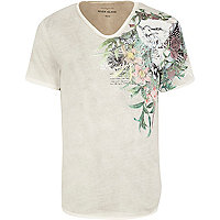 Ecru shoulder floral print t-shirt