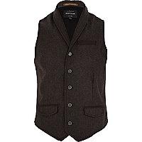 Brown smart shawl neck waistcoat