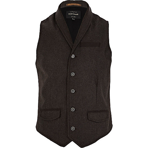 Brown smart shawl neck vest