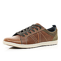 Brown contrast panel trainers