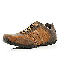 Brown leather contrast panel trainers