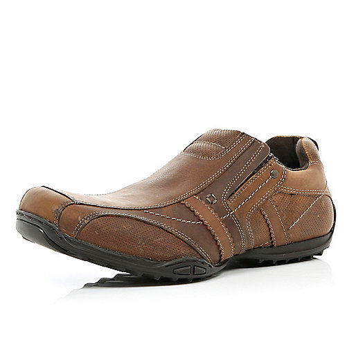 Brown leather contrast panel slip on trainers