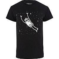 Black Tim Robot robot space print t-shirt
