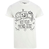 White Tim Robot friends print t-shirt