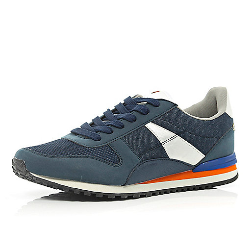 Navy denim colour block streamline trainers