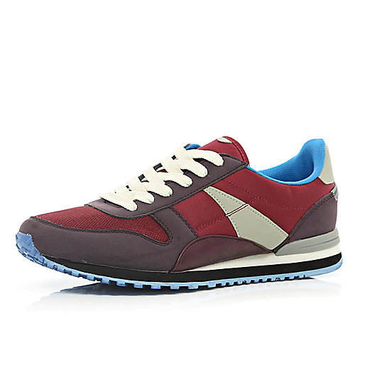 Dark red colour block streamline trainers