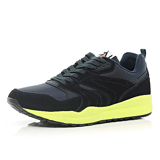 Navy neon chunky sole trainers