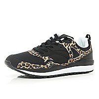 Black leopard print panel trainers