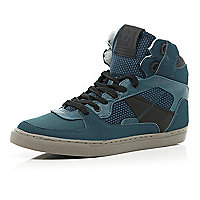 Turquoise contrast panel high tops