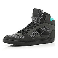 Dark grey colour block high tops
