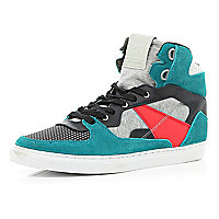 Grey marl colour block high tops