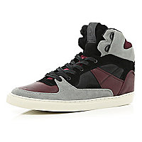 Purple colour block high tops