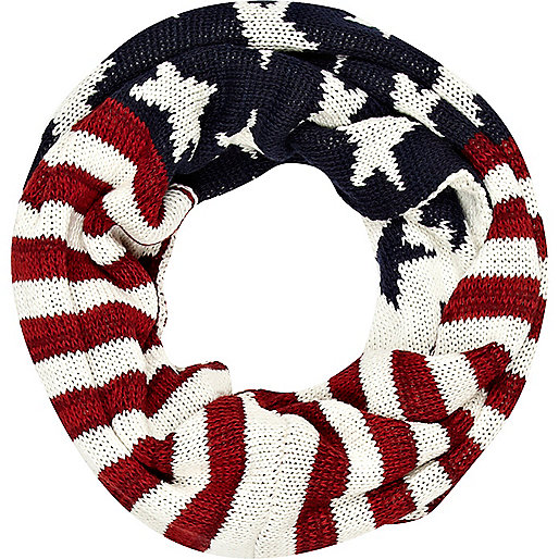 Navy stars and stripes knitted snood