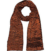Black and neon orange twist knit scarf