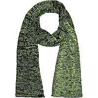 Black and neon yellow twist knit scarf