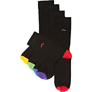 Black moustache motif ankle socks pack