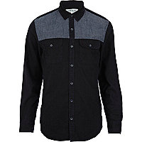 Black chambray yoke long sleeve shirt