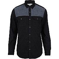 Black chambray yoke long sleeve shirt
