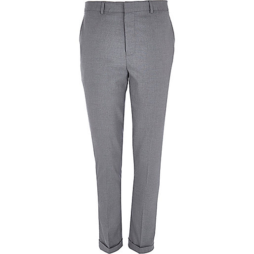 Grey smart turn up skinny stretch trousers