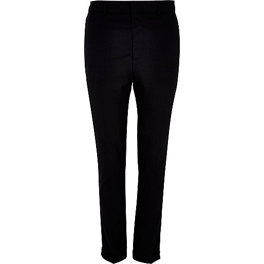 Black smart turn up skinny stretch trousers