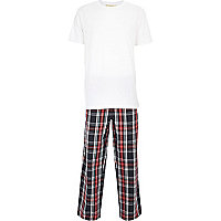 Navy check t-shirt pyjamas