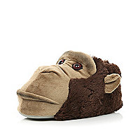 Brown monkey face slippers