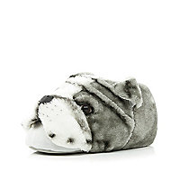 Grey dog face slippers