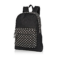 Black star print panel rucksack