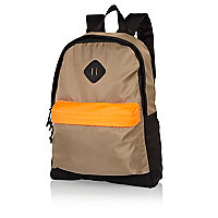 Black neon panel colour block rucksack