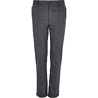 Blue check wool-blend skinny trousers