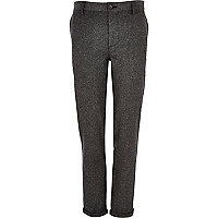 Grey Donegal wool-blend skinny trousers