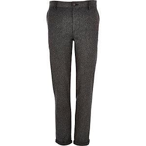 Grey Donegal wool-blend skinny pants