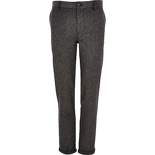 Grey Donegal wool-blend skinny pants