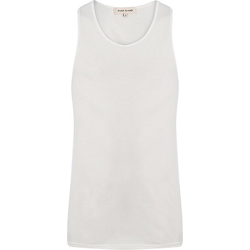 White scoop neck vest