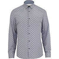 Navy gingham star print shirt