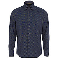 Navy ditsy diamond print double collar shirt