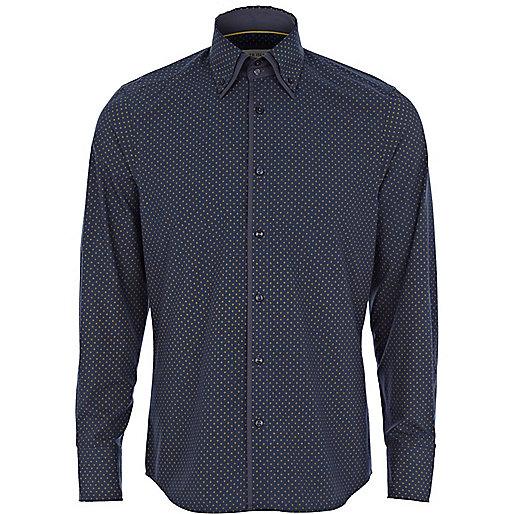 Navy ditsy diamond print double collar shirt